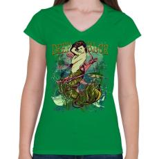 PRINTFASHION Sellő - Női V-nyakú póló - Zöld