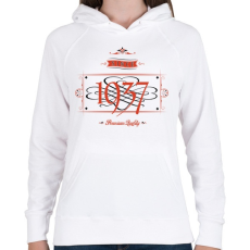 PRINTFASHION since-1937-red-black - Női kapucnis pulóver - Fehér
