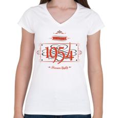 PRINTFASHION since-1954-red-black - Női V-nyakú póló - Fehér