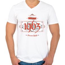 PRINTFASHION since-1963-red-black - Férfi V-nyakú póló - Fehér
