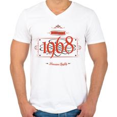 PRINTFASHION since-1968-red-black - Férfi V-nyakú póló - Fehér