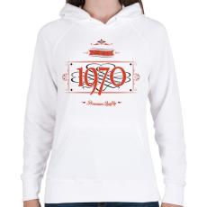 PRINTFASHION since-1970-red-black - Női kapucnis pulóver - Fehér