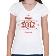PRINTFASHION since-2012-red-black - Női V-nyakú póló - Fehér