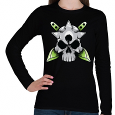 PRINTFASHION Skull and blade - Női hosszú ujjú póló - Fekete
