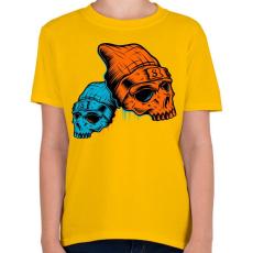 PRINTFASHION Skull - Gyerek póló - Sárga