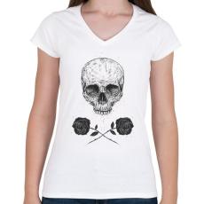 PRINTFASHION Skull N' Roses - Női V-nyakú póló - Fehér