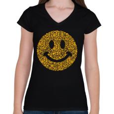 PRINTFASHION Smile - Női V-nyakú póló - Fekete