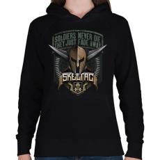 PRINTFASHION Soldiers never die - Női kapucnis pulóver - Fekete