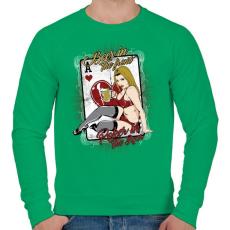 PRINTFASHION Sör és póker - Férfi pulóver - Zöld