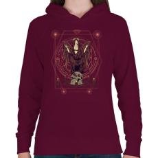 PRINTFASHION Sötét angyal - Női kapucnis pulóver - Bordó