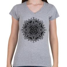 PRINTFASHION Sötét csillag - Női V-nyakú póló - Sport szürke