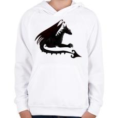PRINTFASHION Sötét sárkány - Gyerek kapucnis pulóver - Fehér
