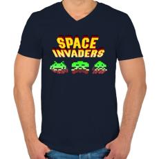 PRINTFASHION Space Invaders - Férfi V-nyakú póló - Sötétkék
