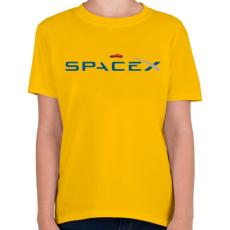 PRINTFASHION SpaceX - Tesla Roadster - Gyerek póló - Sárga
