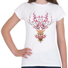 PRINTFASHION Spring deer - Női póló - Fehér
