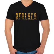 PRINTFASHION STALKER - Férfi V-nyakú póló - Fekete