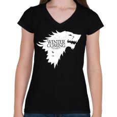 PRINTFASHION Stark - Női V-nyakú póló - Fekete