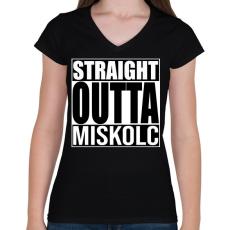 PRINTFASHION Straight Outta Miskolc - Női V-nyakú póló - Fekete