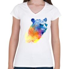 PRINTFASHION Sunny bear - Női V-nyakú póló - Fehér