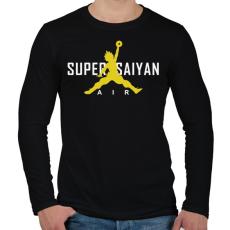 PRINTFASHION Super Saiyan Air - Férfi hosszú ujjú póló - Fekete