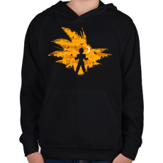 PRINTFASHION Super Saiyan - Gyerek kapucnis pulóver - Fekete