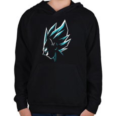 PRINTFASHION Super Saiyan Vegeta - Gyerek kapucnis pulóver - Fekete