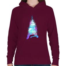 PRINTFASHION Szabadesés - Női kapucnis pulóver - Bordó