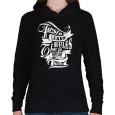 PRINTFASHION Szabályok - Női kapucnis pulóver - Fekete
