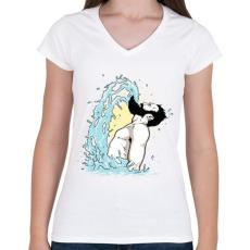 PRINTFASHION Szakállas csobbanás - Női V-nyakú póló - Fehér