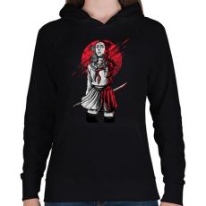 PRINTFASHION Szamuráj lány - Női kapucnis pulóver - Fekete