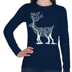 PRINTFASHION Szarvas fa - Női hosszú ujjú póló - Sötétkék