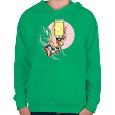 PRINTFASHION Szelfi - Gyerek kapucnis pulóver - Zöld