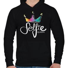 PRINTFASHION Szelfi királynő - Férfi kapucnis pulóver - Fekete