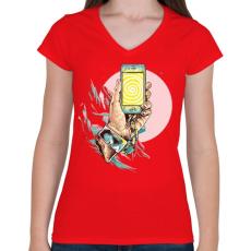 PRINTFASHION Szelfi - Női V-nyakú póló - Piros