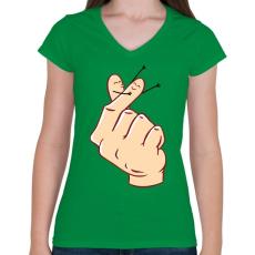 PRINTFASHION Szerelmes ujjak - Női V-nyakú póló - Zöld