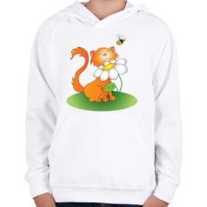 PRINTFASHION Szimatcic - Gyerek kapucnis pulóver - Fehér