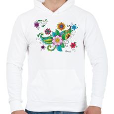 PRINTFASHION Színes hennaminta - Férfi kapucnis pulóver - Fehér