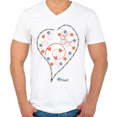 PRINTFASHION Sziv1 - Férfi V-nyakú póló - Fehér