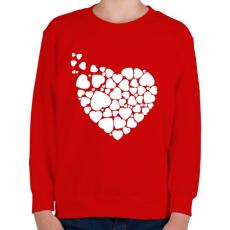 PRINTFASHION Szívek - Gyerek pulóver - Piros