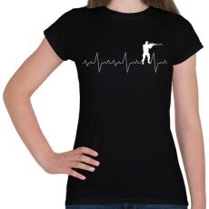 PRINTFASHION Szívritmus PUBG CSGO - Női póló - Fekete