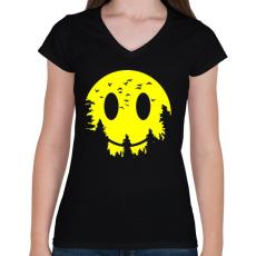 PRINTFASHION Szmájli hold - Női V-nyakú póló - Fekete