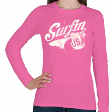 PRINTFASHION Szörf USA - Női hosszú ujjú póló - Rózsaszín