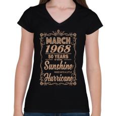 PRINTFASHION Születésnap - Napfény egy kis hurrikánnal! - Női V-nyakú póló - Fekete