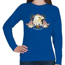 PRINTFASHION Született az USA-ban - Női pulóver - Királykék