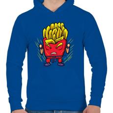 PRINTFASHION Szuper krumpli - Férfi kapucnis pulóver - Királykék