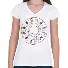 PRINTFASHION Szűz - Női V-nyakú póló - Fehér