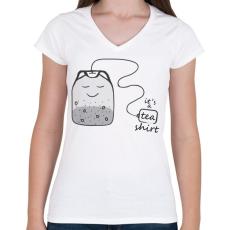 PRINTFASHION Tea-shirt - Női V-nyakú póló - Fehér