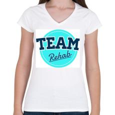 PRINTFASHION TEAM Rehab blue - Női V-nyakú póló - Fehér