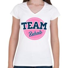 PRINTFASHION TEAM Rehab Pink - Női V-nyakú póló - Fehér