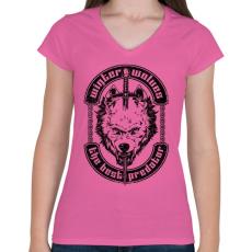 PRINTFASHION Télen a farkasok a legjobb ragadozók - Női V-nyakú póló - Rózsaszín